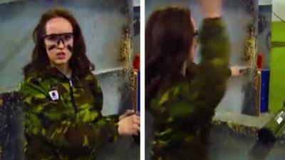 Une femme se foire complètement en lançant une grenade