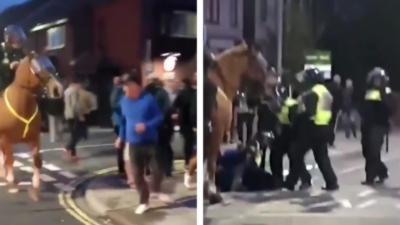 Un supporter de football fait le malin face à un policier à cheval mais finit rapidement par le payer