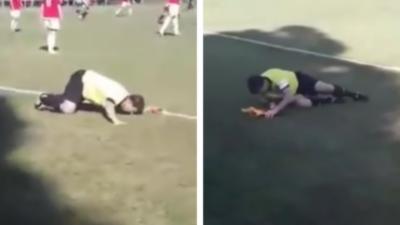 Un arbitre de touche complètement bourré en plein match de foot