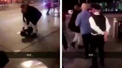 Un policier se fait menotter et plaquer au sol par le suspect qu'il essayait d'arrêter