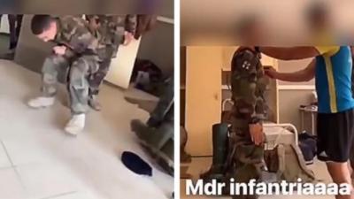 Des jeunes recrues du 35e Régiment d'Infanterie de Belfort se font frapper