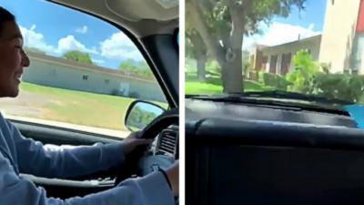 Sa toute première fois au volant avec son père ne dure pas très longtemps