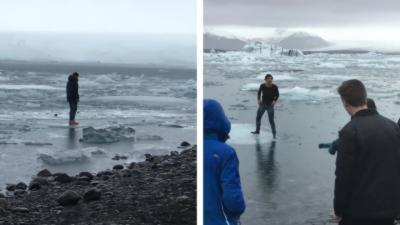 Un touriste marche sur la glace pour une photo malgré l'interdiction et se retrouve à la dérive