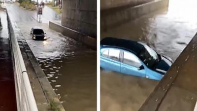 Il tente de passer sous un pont inondé à Cannes