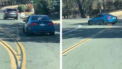 Il tente un drift en BMW E92 et tombe directement dans le ravin