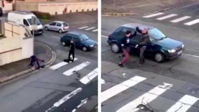 Un homme qui ne porte pas vraiment ses couilles lors d'un road rage