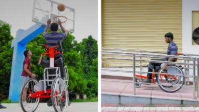 Un fauteuil roulant avec une position debout
