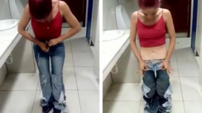 Elle enfile tout un tas de jean pour partir sans payer mais se fait chopper